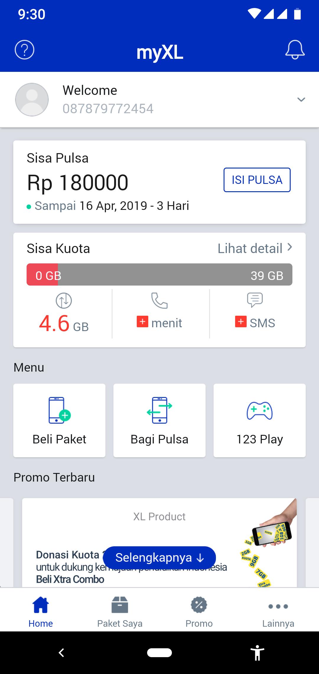 Cek kuota XL melalui aplikasi MyXL