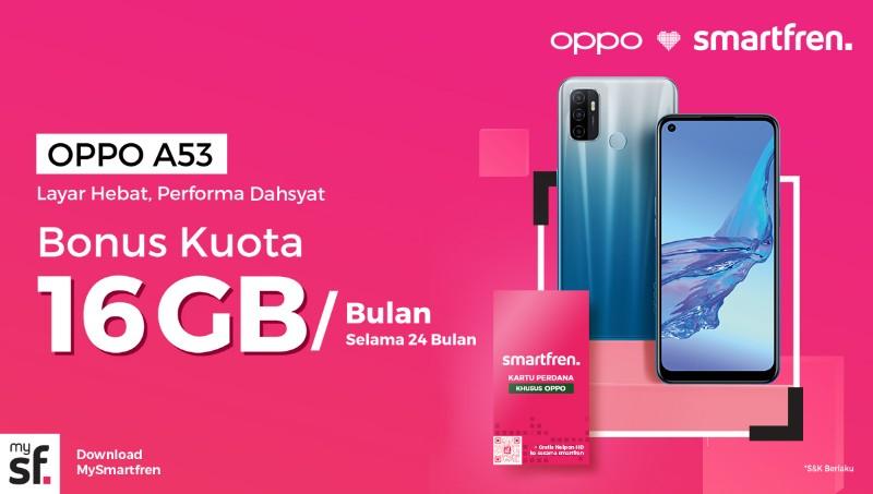 Perdana Smartfren x OPPO A53 Dapat Bonus 384 GB