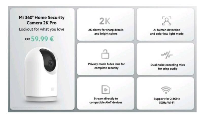 Spesifikasi Mi 360 Home Security Camera 2K Pro
