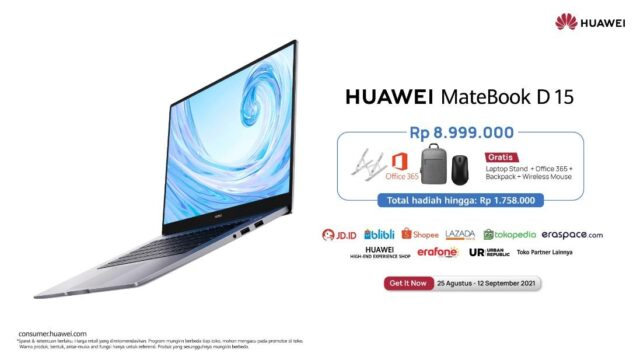 HUAWEI MateBook D15 Laptop Ringan, Layar Besar, dan Lebih Banyak Pengalaman